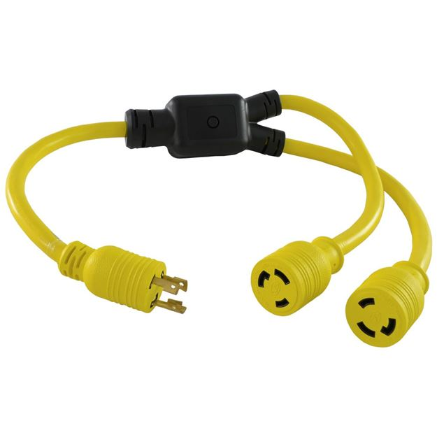 Picture of L6-30P to (2) L6-30R Y-Adapter